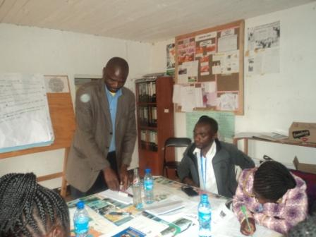 Njombe DC, Education officer giving the opening speech to primary school teachers during teacher mentors workshop at HHU HQ